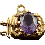 14K 1.00 CT Amethyst Victorian Slide Bracelet Clasp Charm/Pendant Yellow Gold