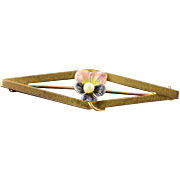 10K Art Nouveau Pink & Purple Enamel Seed Pearl Pin/Brooch Yellow Gold  [QPQX]