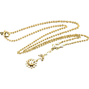 """14K Victorian Flower Seed Pearl Link Necklace 15"""" Yellow Gold"""
