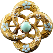 14K Victorian Pinwheel Blue White Enamel Turquoise Pin/Brooch Yellow Gold  [QPQX]