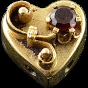 14K Victorian Puffy Heart Garnet Flower Slide Bracelet Charm/Pendant Yellow Gold