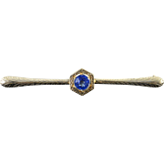 14K Art Deco Created Sapphire Bar Pin/Brooch White Gold