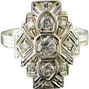 18K Art Deco 0.40 CTW Diamond Filigree 3 Stone Engagement Ring Size 5.5 White Gold