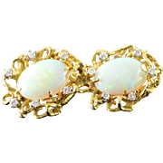 14K 10.60 CTW Opal Diamond Custom Designed Enhancer Pendant Yellow Gold