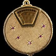 14K 1960's Spinning Photo Locket Ruby Starburst Charm/Pendant Yellow Gold