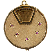 14K 1960's Spinning Photo Locket Ruby Starburst Charm/Pendant Yellow Gold  [QPQX]