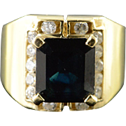 18K 5.84 CTW Sapphire Diamond Halo Cut Out Ring Size 7 Yellow Gold