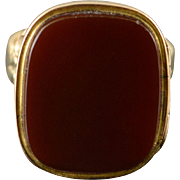 10K Victorian 17x14 Red Carnelian Poison Hidden Compartment Ring Size 7.25 Yellow Gold