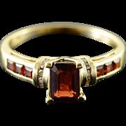 14K 1.55 CTW Garnet Diamond Ring Size 8 Yellow Gold