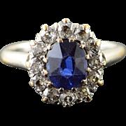 Platinum/14K 0.80 CTW Created Sapphire Diamond Halo Engagement Ring Size 3 White Gold