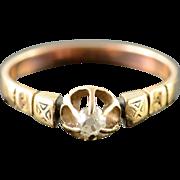 10K Victorian 0.15 CT Mine Cut Diamond Gypsy Setting Engagement Ring Size 6.75 Yellow Gold [QPQX]