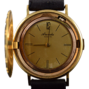 14K Arenda Faux Coin Vintage Mechanical Watch with Hidden Face  Yellow Gold