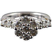 14K 1.75 CTW Diamond Cluster Engagement Ring Size 7 White Gold [QPQX]