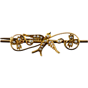 15K Victorian Seed Pearl Sparrow 43.5mm Bar Pin/Brooch Yellow Gold