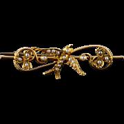 15K Victorian Seed Pearl Sparrow 43.5mm Bar Pin/Brooch Yellow Gold  [QPQX]
