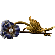 18K 1930's Purple White Seed Pearl Flower Pin/Brooch Yellow Gold