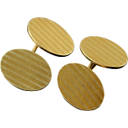 18K 1960's Tiffany & Co. Oval Engraved Shirt Cuff Links Yellow Gold  [QPQX]