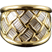 18K Charles Krypell 3.00 CTW Diamond Baguette Weave Band Ring Size 7 Yellow Gold