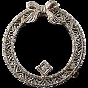14K 1950's Diamond Filigree Circle Ribbon Bow Pin/Brooch White / Yellow Gold
