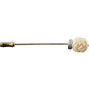 14K Carved Flower White Diamond Collar Stick Pin Yellow Gold