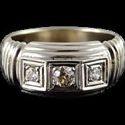 14K 0.30 CTW 3 Stone Diamond Men's Ring Size 9 White Gold