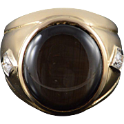 14K Heavy 2.30 CT Cats Eye Diamond Men's Ring Size 10 Yellow Gold