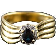 18K 0.50 CTW Sapphire Diamond Halo Ring Size 6.25 Yellow Gold