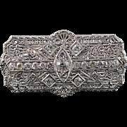 14K Art Deco 1.25 CTW Diamond Filigree 39.6mm Pendant/Pin White Gold