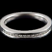 Platinum 0.15 CTW Diamond Inset Wedding Band Ring Size 6