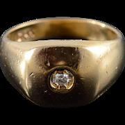 14K Genuine Diamond Inset Ring Size 6.75 Yellow Gold