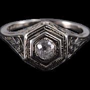 18K Art Deco 0.25 Ct Diamond Scroll Engagement Ring Size 6 White Gold