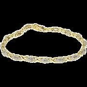 "10K 1.00 Ctw Diamond Pointed Oval X Link Tennis Bracelet 7.25"" Yellow Gold"