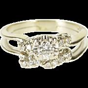 14K 0.30 Ctw Diamond Engagement Wedding Band Set Ring Size 6.75 White Gold