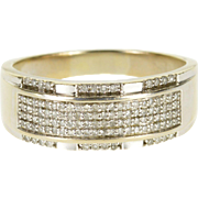 10K Diamond Encrusted Pave Men's Wedding Band Ring Size 13 White Gold