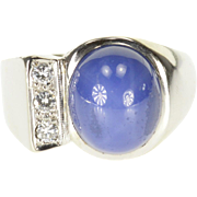 14K Star Sapphire* Diamond Inset Oval Cabochon Ring Size 7.75 White Gold
