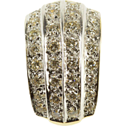 14K 0.96 Ctw Diamond Channel Encrusted Curved Slide Pendant Yellow Gold