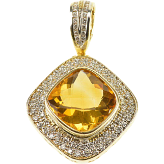 14K 6.64 Ctw Citrine Diamond Pave Faceted Rounded Pendant Yellow Gold