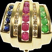 14K 1.00 Ctw Diamond Ruby Sapphire Emerald Inset Slide Pendant Yellow Gold