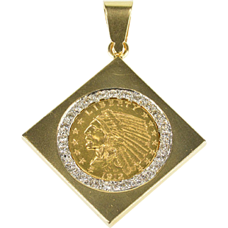 14K 0.75 Ctw Diamond 1912 Indian Head Coin Square Pendant Yellow Gold