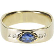 14K 0.56 Ctw Blue Sapphire Diamond Squared Marquise Ring Size 8 White Gold
