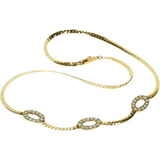 "14K 1.00 Ctw Diamond Oval Rounded Herringbone Necklace 17.25"" Yellow Gold"