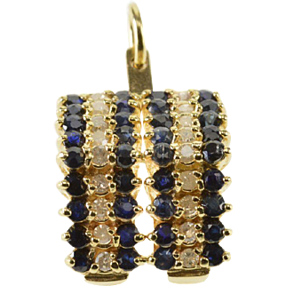 10K 0.90 Ctw Sapphire Diamond Encrusted Pointed Pendant/Pin Yellow Gold