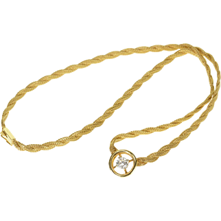 "14K 0.50 Ctw Suspended Diamond Twist Foxtail Necklace 14.75"" Yellow Gold"