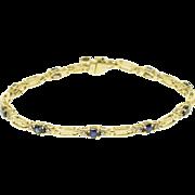 "14K 2.20 Ctw Diamond Sapphire Diamond Bar Link Bracelet 7"" Yellow Gold"