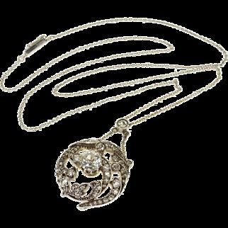 "Platinum Victorian 2.25 Ctw Diamond Encrusted Ornate Scroll Necklace 18"""