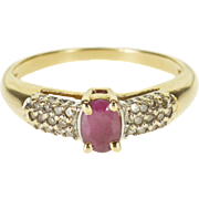10K 0.59 Ctw Ruby Diamond Oval Pave Encrusted Ring Size 7 Yellow Gold
