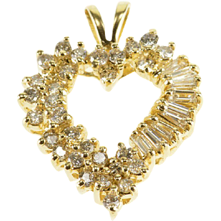 14K 1.83 Ctw Diamond Encrusted Heart Baguette Round Cut Pendant Yellow Gold