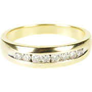 14K 0.24 Ctw Diamond Channel Inset Wedding Band Ring Size 7 Yellow Gold