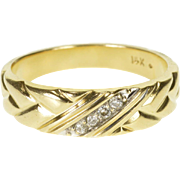 14K Diamond Diagonal Inset Weave Braid Pattern Band Ring Size 10 Yellow Gold