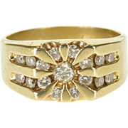 10K 1.00 Ctw Diamond Sun Starburst Design Men's Ring Size 9.75 Yellow Gold